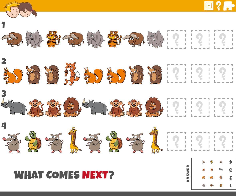pädagogisches Musterspiel für Kinder mit Tieren vektor