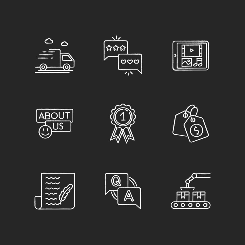 Social Media Präsenz Kreide weiße Symbole gesetzt vektor