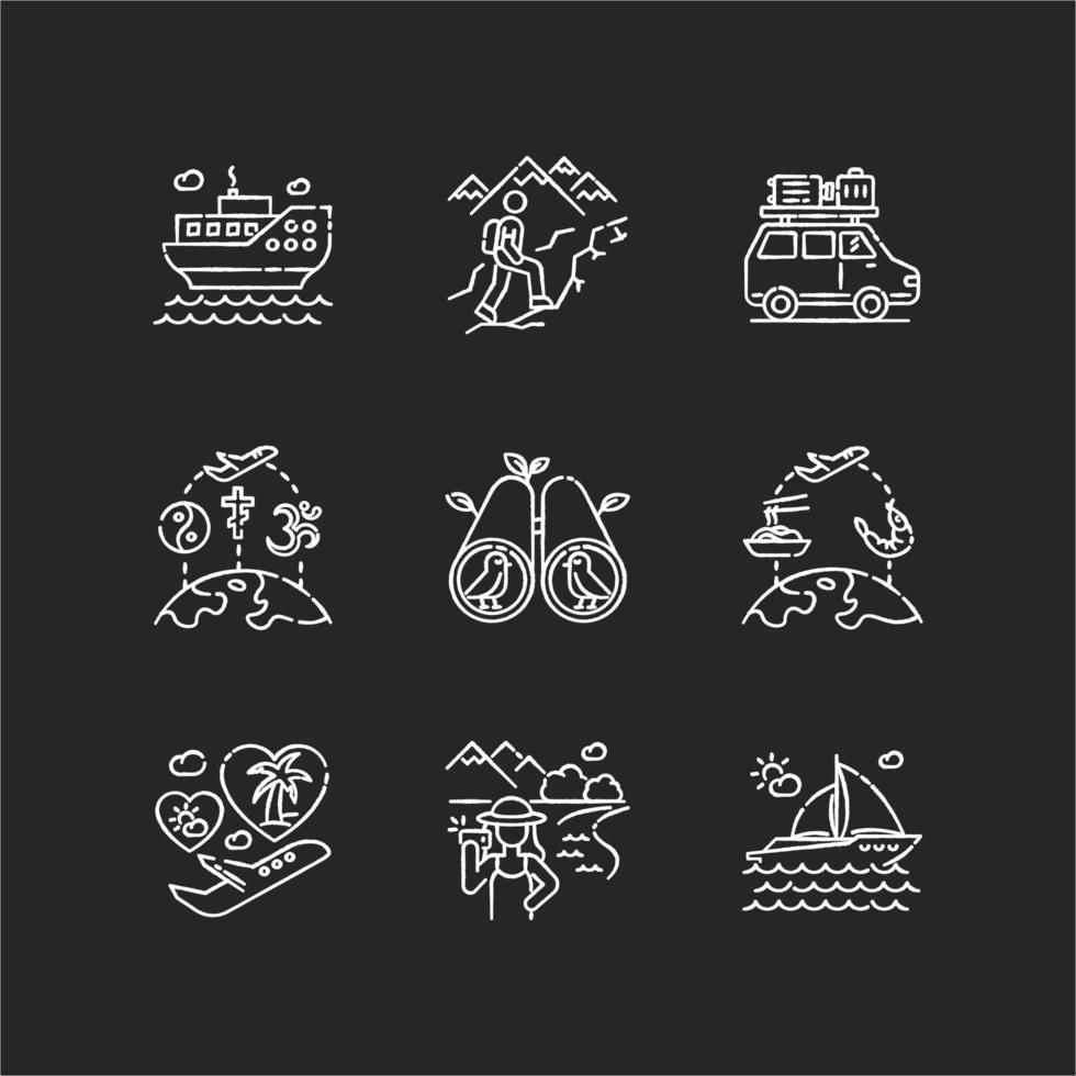 Urlaubsreise Kreide weiße Symbole gesetzt vektor