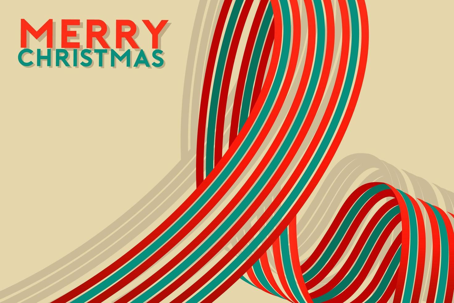 Weihnachten und Neujahr mit grünem und weißem Band vektor
