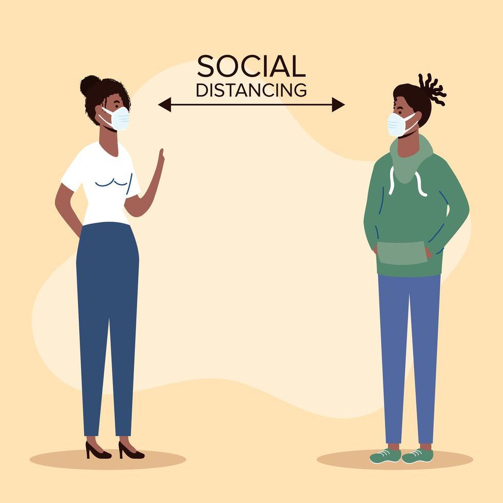 människor social distansering med ansiktsmasker vektor