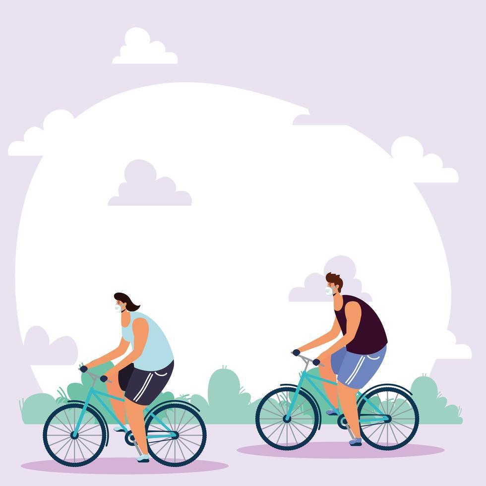 människor med ansiktsmasker som cyklar utomhus vektor