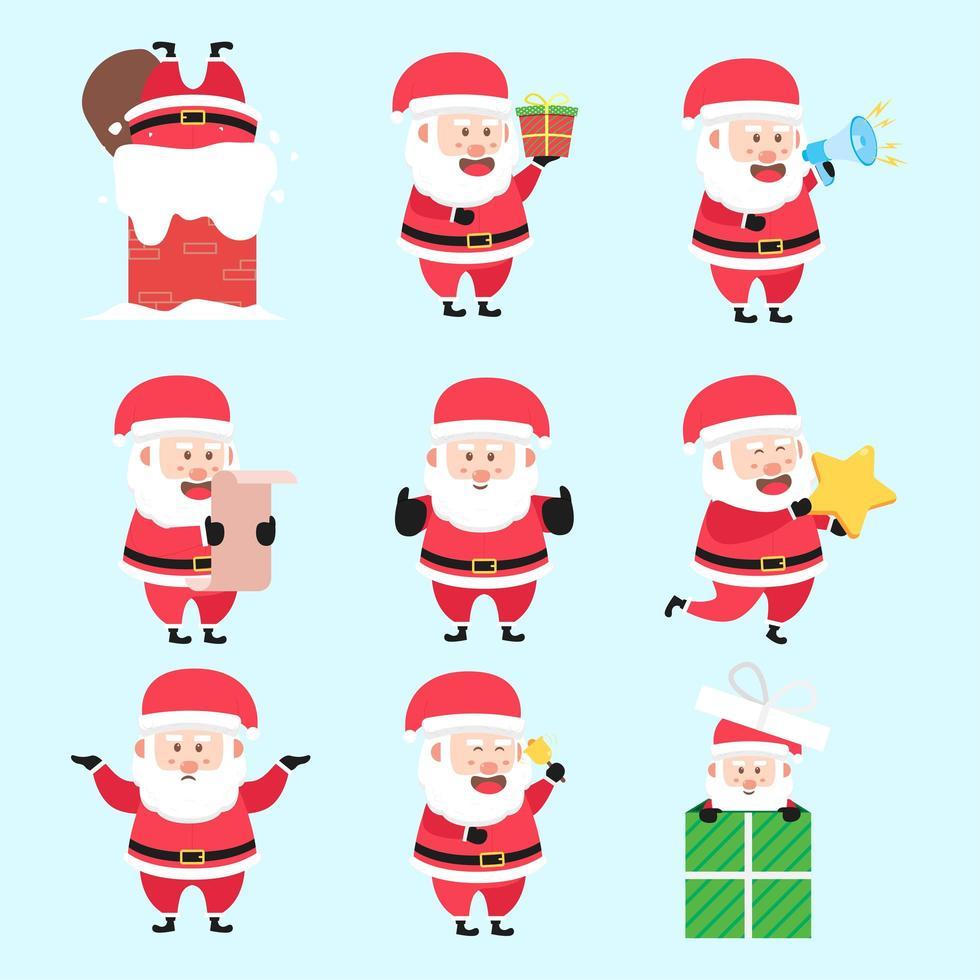 uppsättning jultomte jul aktivitet karaktär tecknad bunt vektor