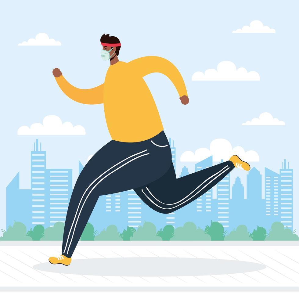 Mann mit Gesichtsmaske läuft im Freien vektor