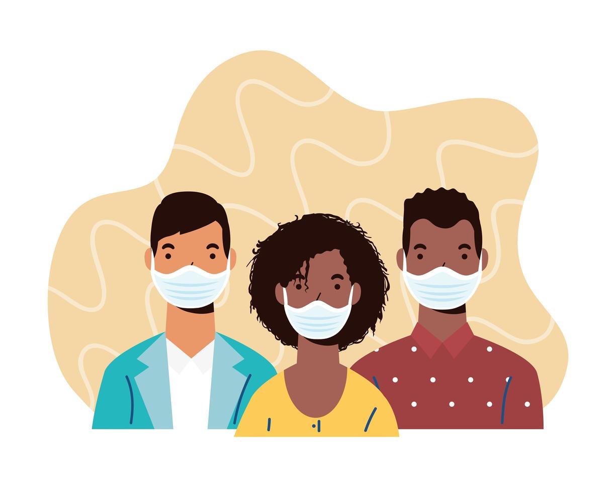 mångfald människor karaktärer bär ansiktsmasker vektor