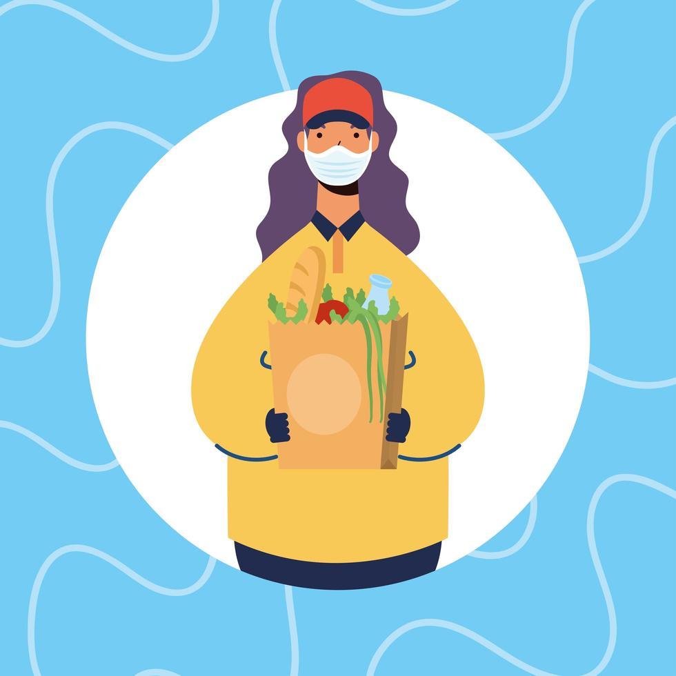 säker matleverans online med kvinnlig arbetare vektor