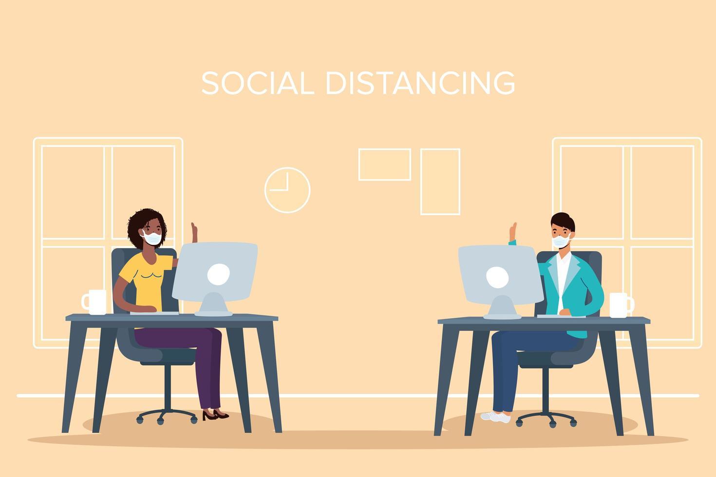 människor med ansiktsmasker social distansering på jobbet vektor