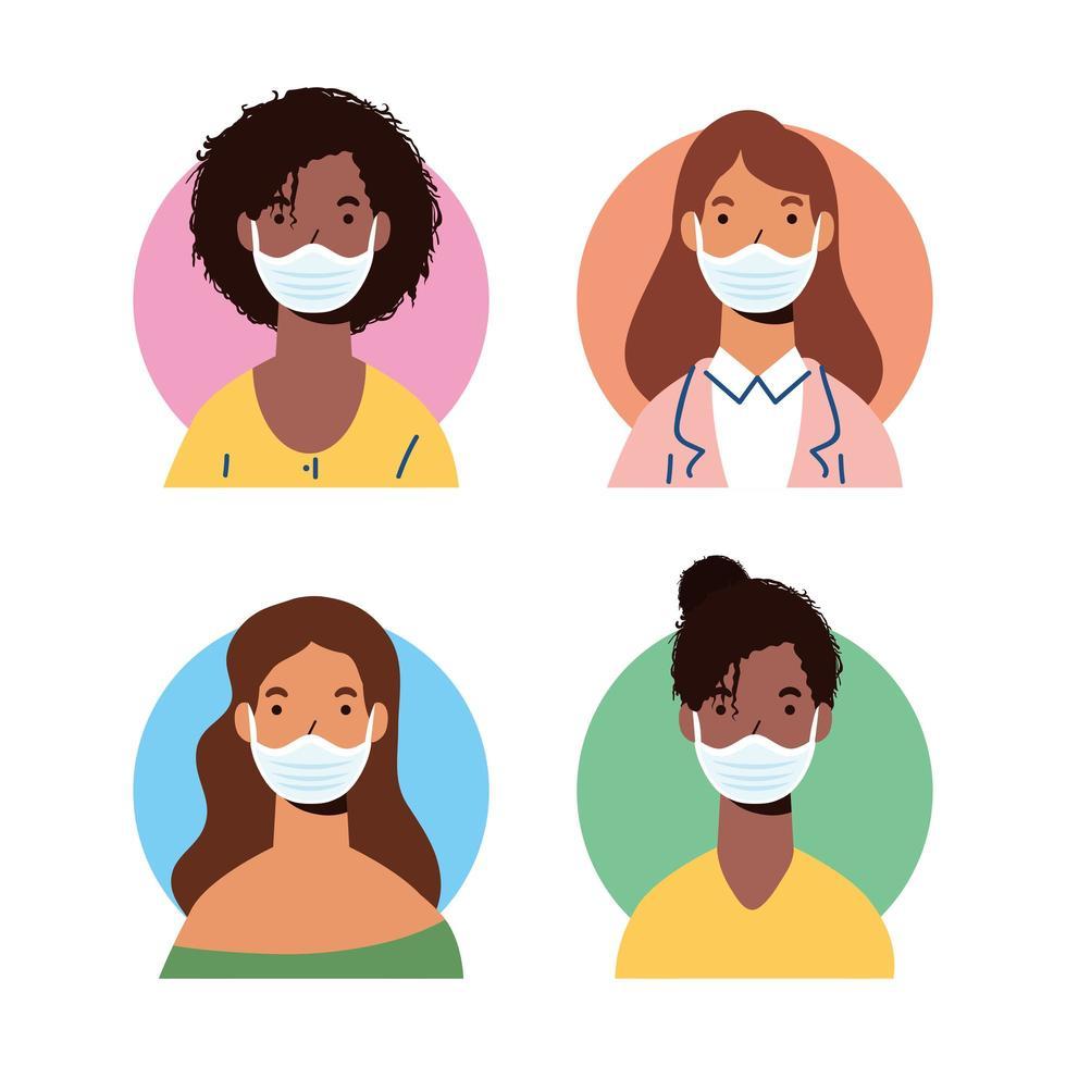 mångfald kvinnokaraktärer som bär ansiktsmasker vektor