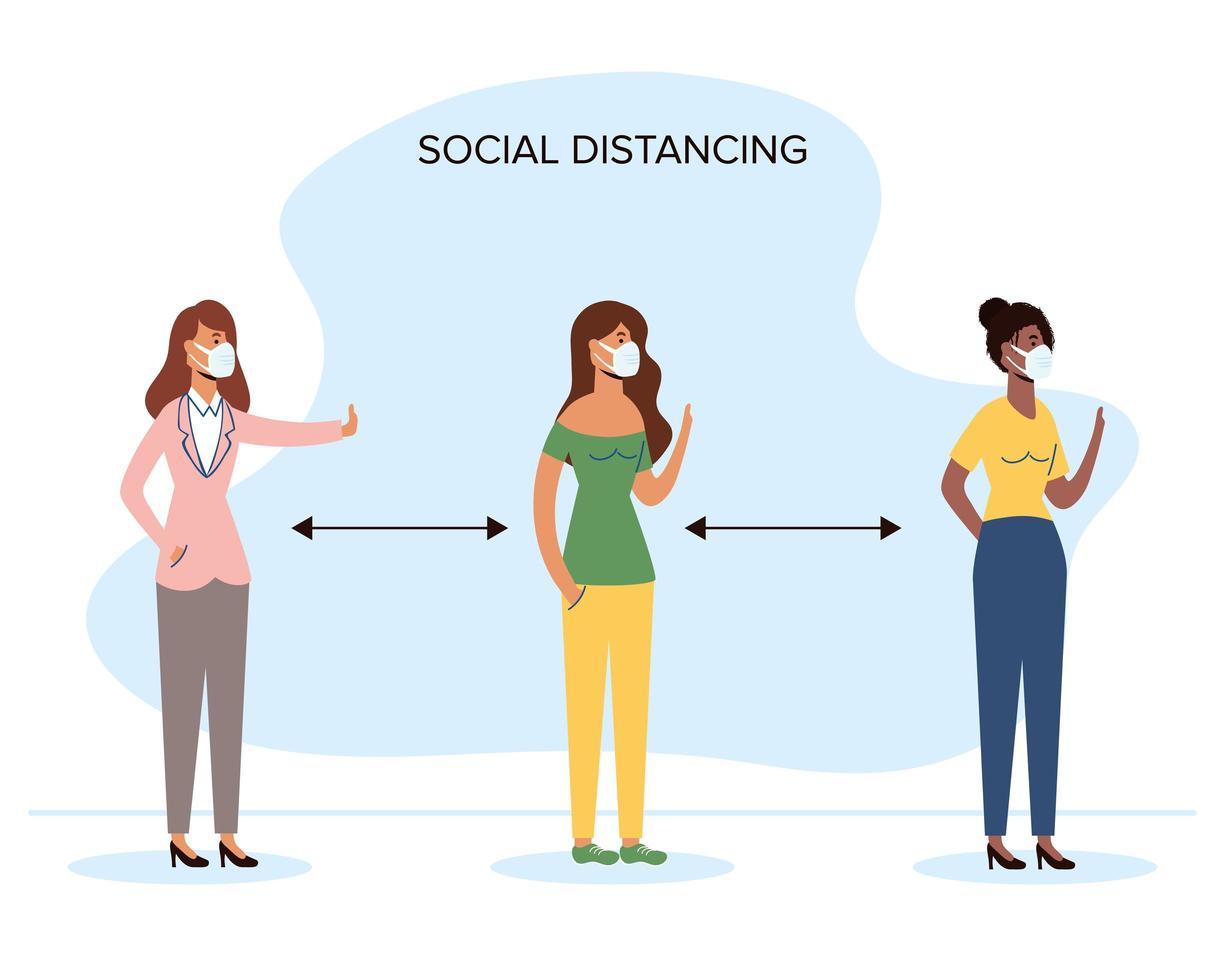 olika kvinnor socialt distanserar med ansiktsmasker vektor