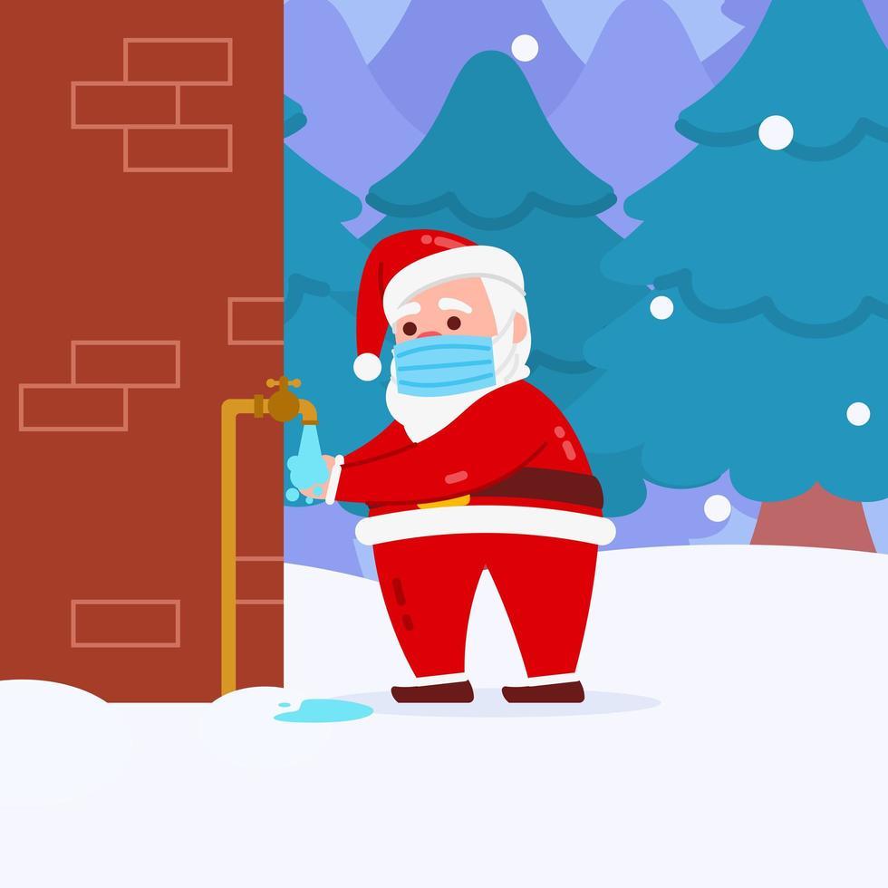 jul santa karaktär bär mask och tvätta händerna vektor