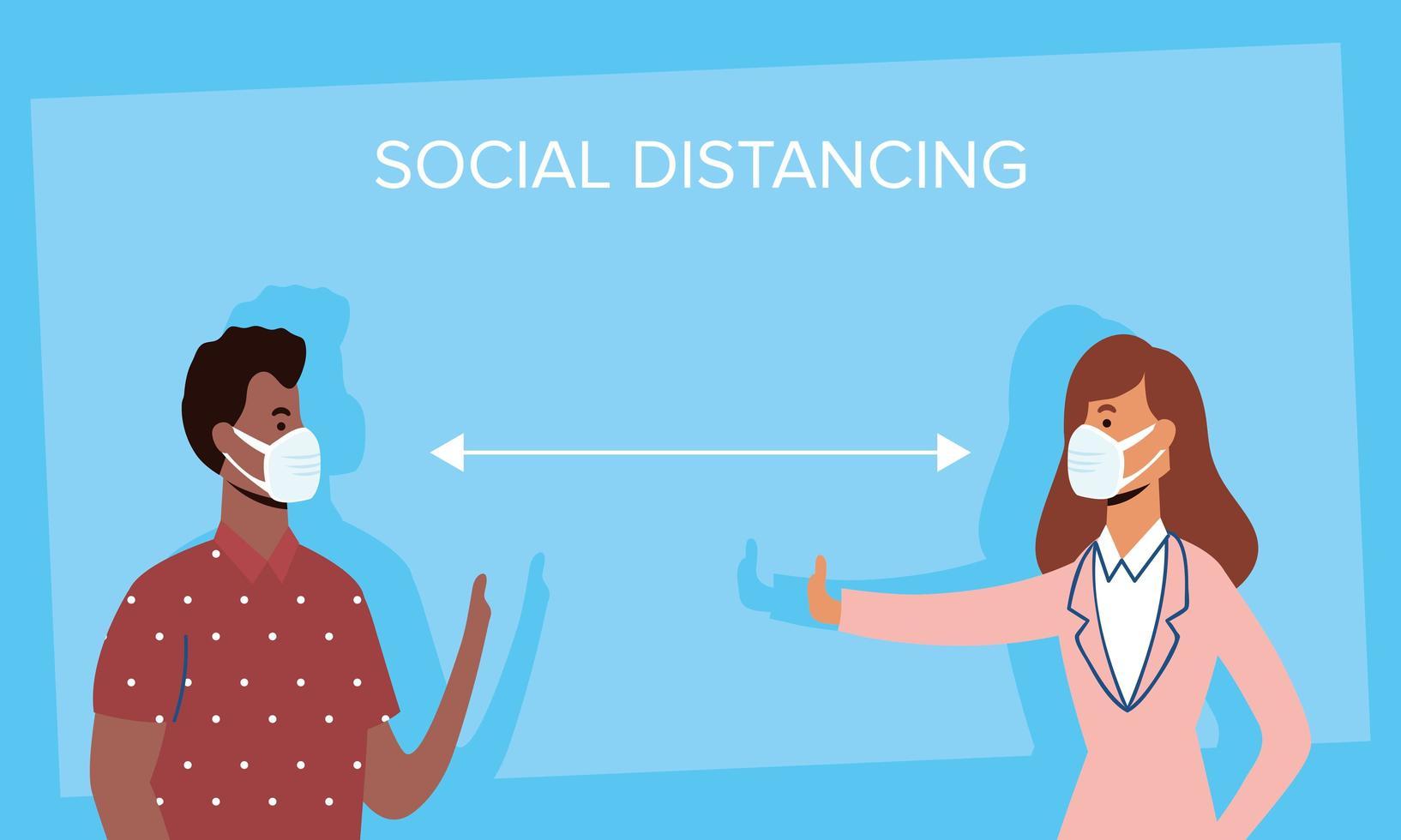olika människor social distansering med ansiktsmasker vektor