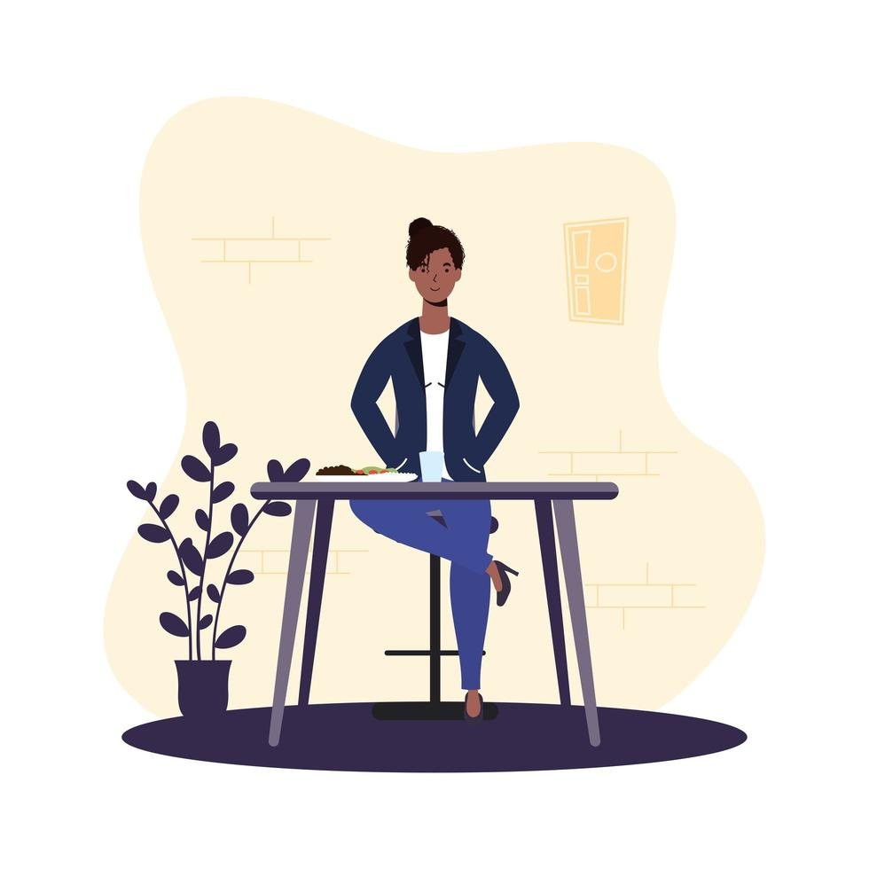 ung kvinna som sitter i en restaurang vektor