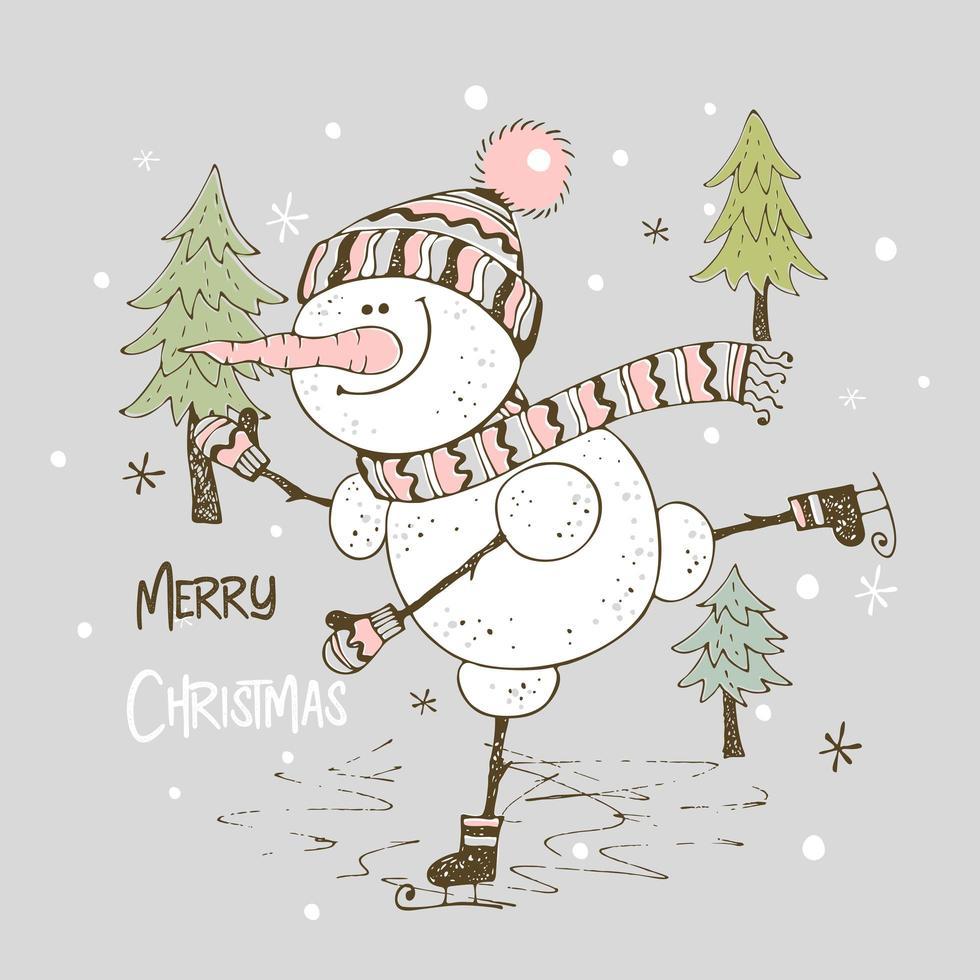 en glad snögubbe skridskoåkning. julkort vektor