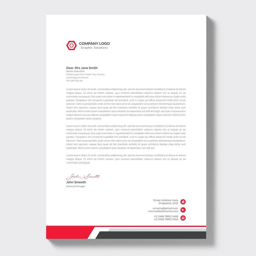 kreative Briefkopfschablone mit roten Details vektor