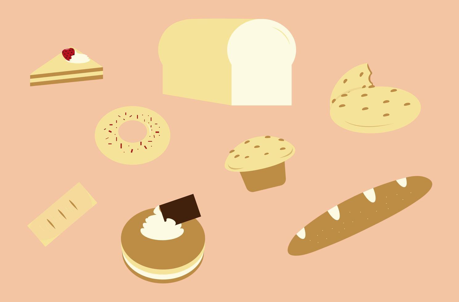 platt bageriproduktuppsättning vektor