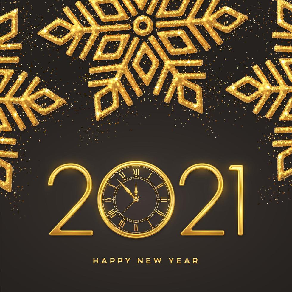 Frohes neues Jahr Gold Metallic Zahlen 2021 vektor