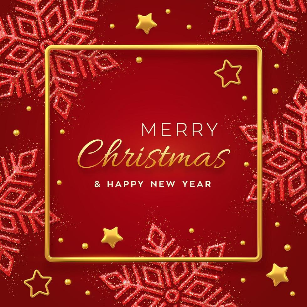 jul röd bakgrund med glänsande snöflingor vektor