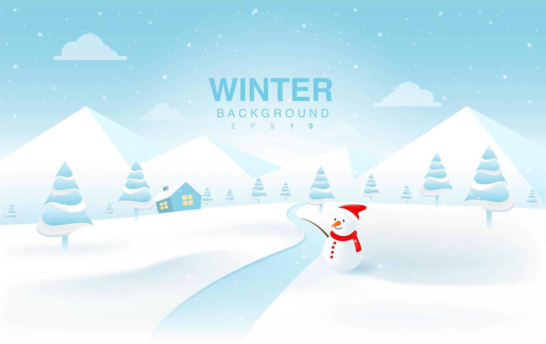jul vinterlandskap med snögubbe vektor