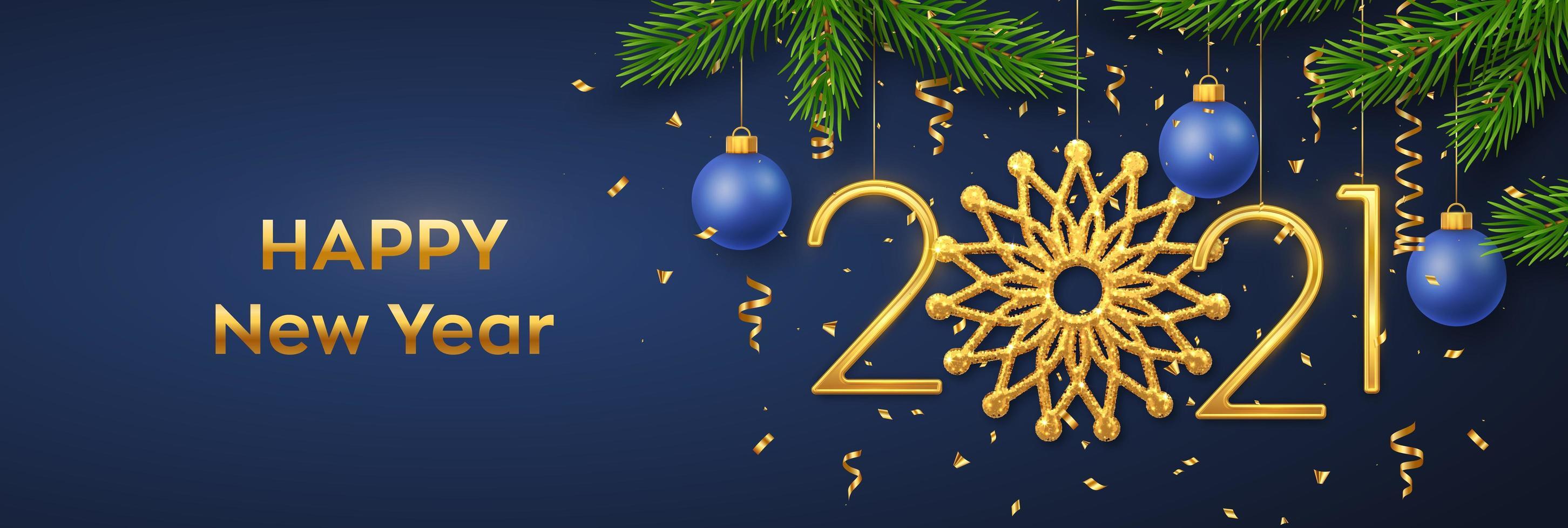 Frohes neues 2021 Jahr. hängende goldene Zahlen 2021 vektor