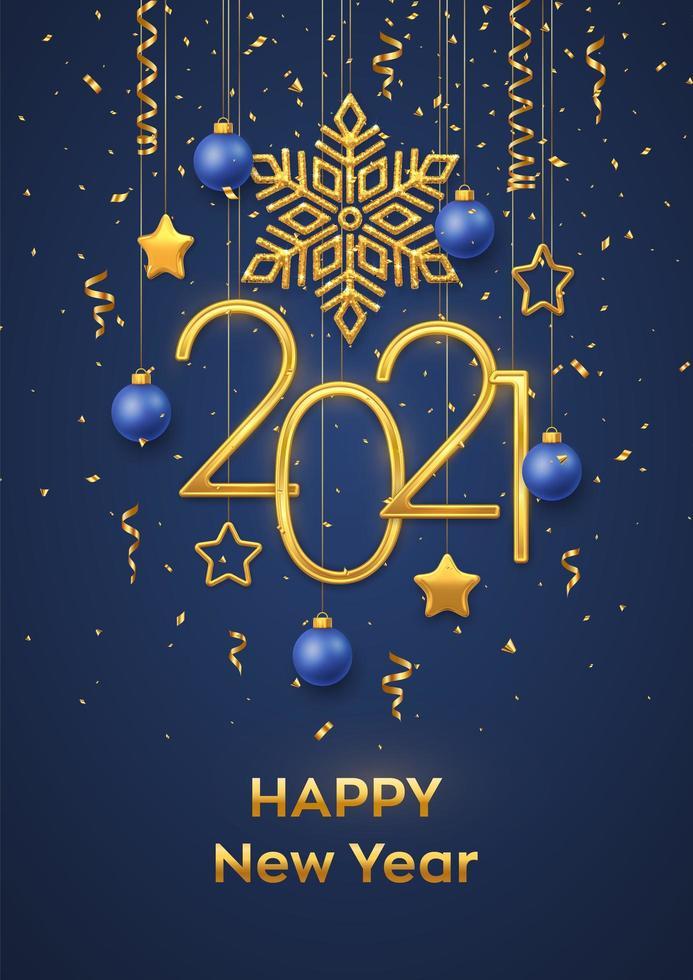 gott nytt år hängande metallnummer 2021 vektor