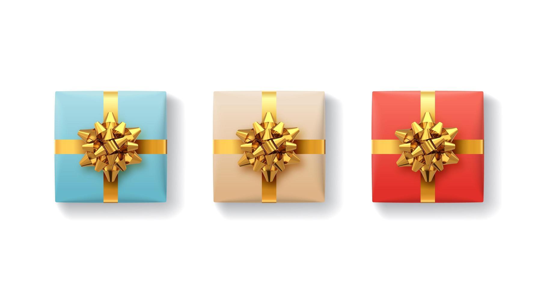 Geschenkboxen mit Bändern und Schleife vektor