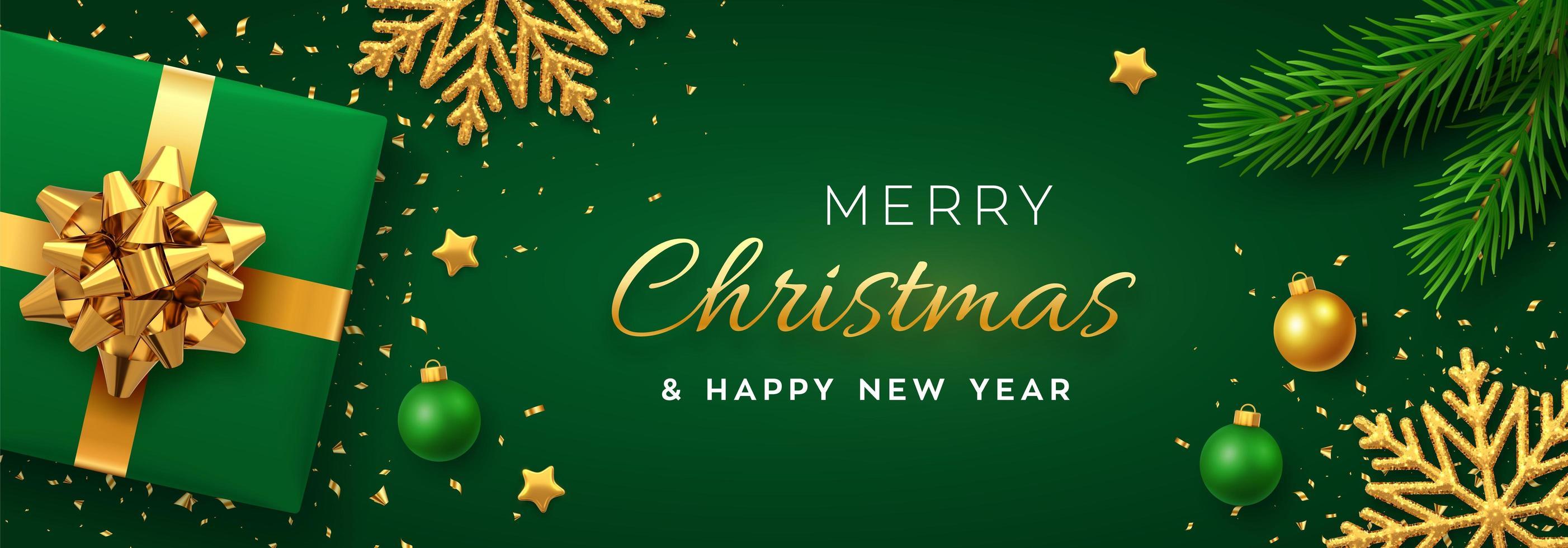 grünes und goldenes Weihnachtsbanner mit Schneeflocken und Geschenk vektor