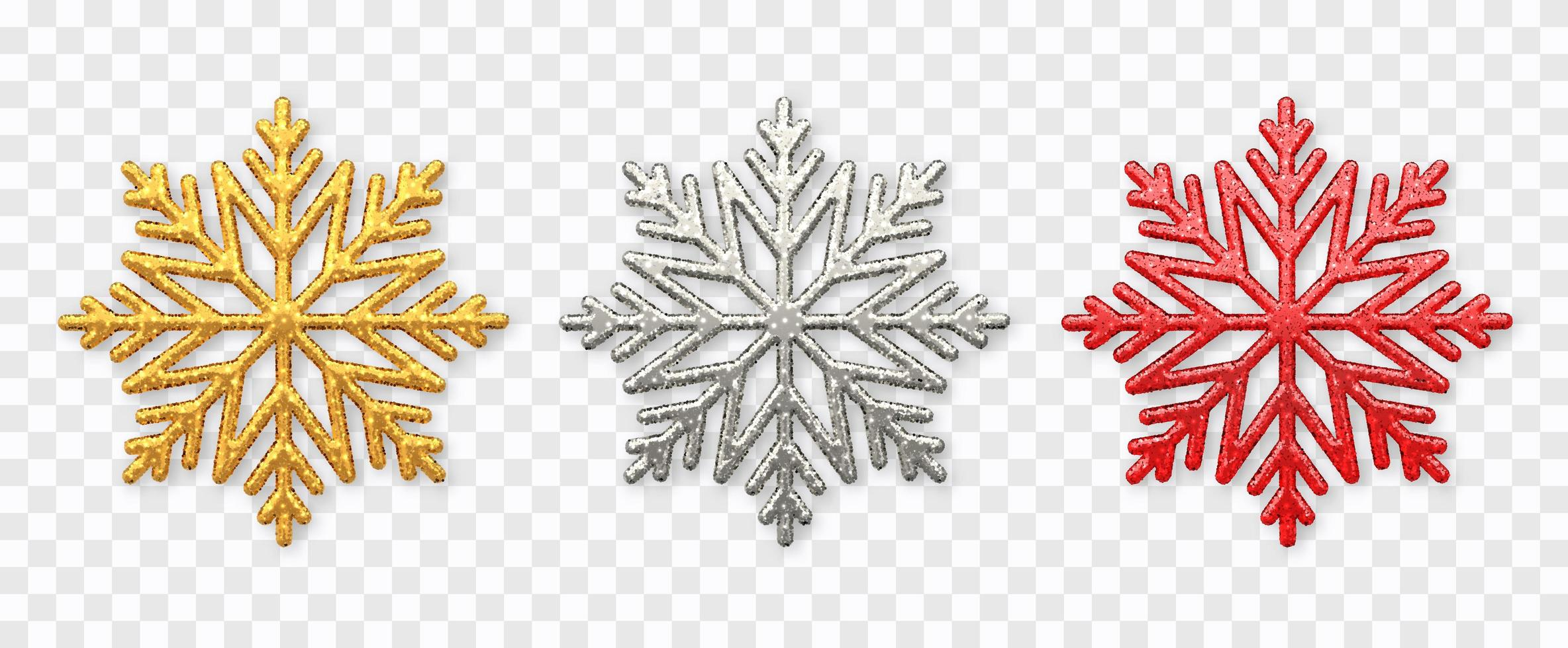 mousserande gyllene, silver och röda snöflingor vektor