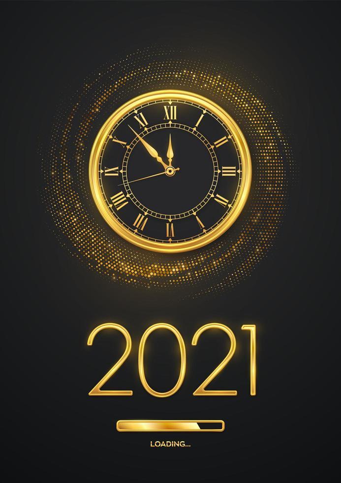 Frohes neues Jahr goldene metallische Zahlen 2021 vektor