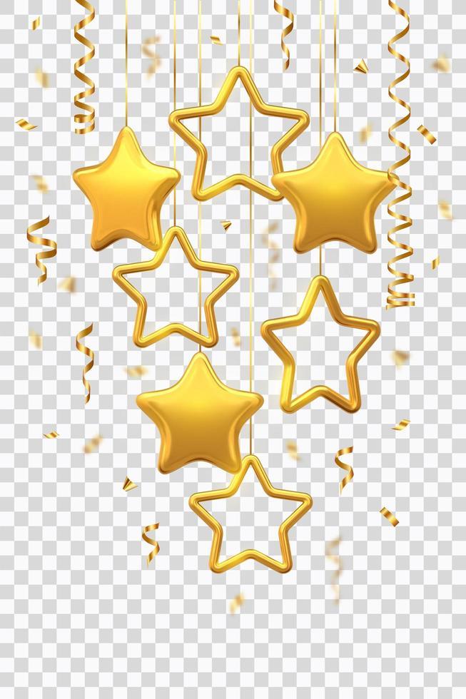 skimrande hängande gyllene stjärnor med konfetti vektor