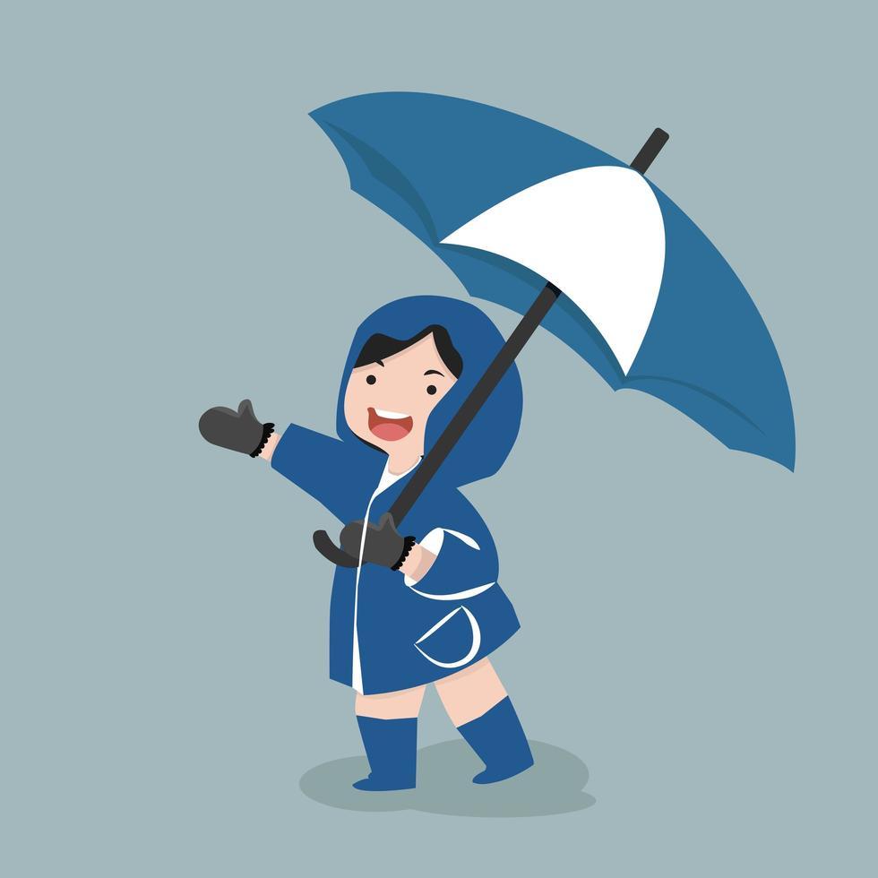 liten flicka håller paraply under regnperioden vektor