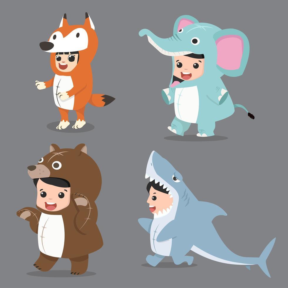 uppsättning tecknade barnkaraktärer i djurdräkter vektor