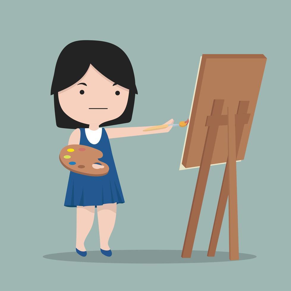 liten tjejkonstnär ritar med färg vektor