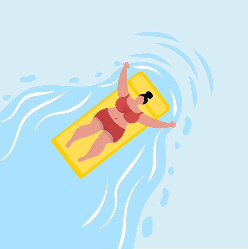 kvinna som simmar vid poolen vektor