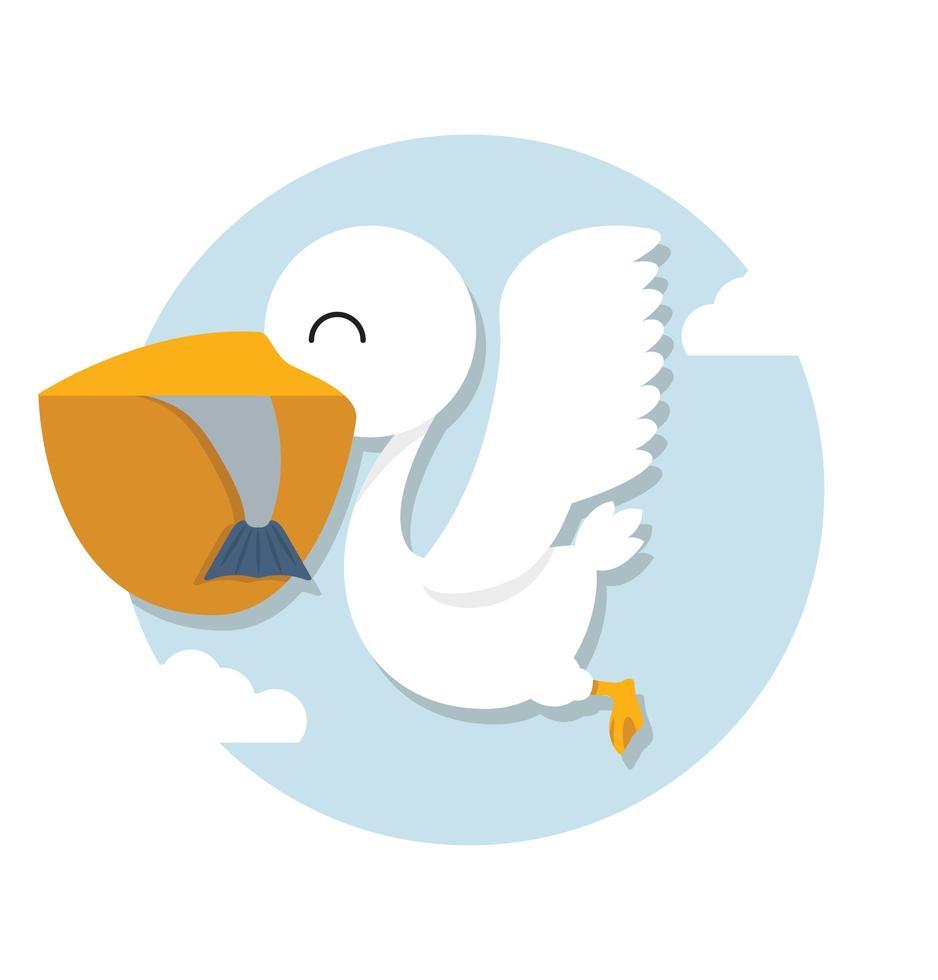pelikan som äter fisk i himlen vektor