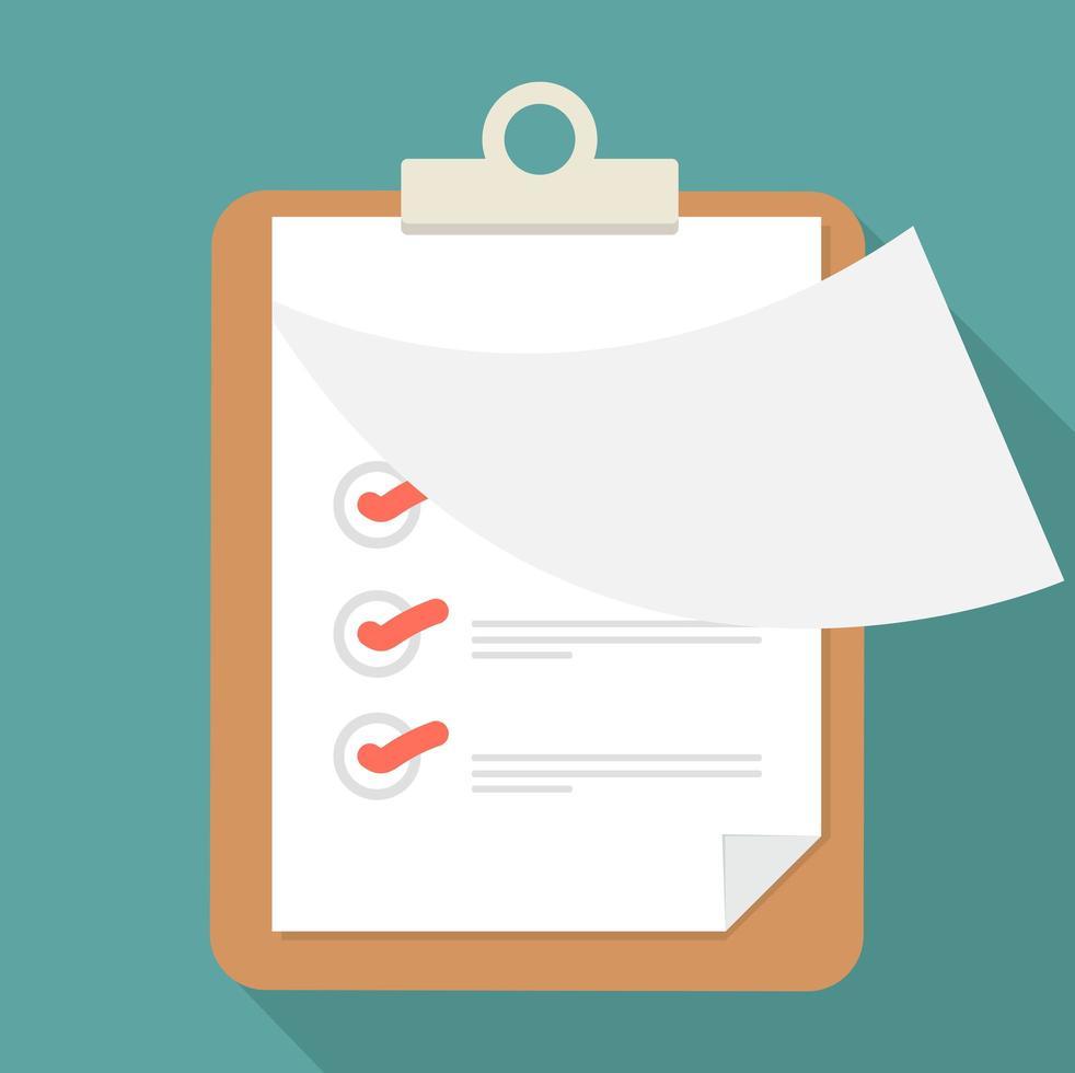 öppna pappers Urklipp och checklista med lång skugga vektor