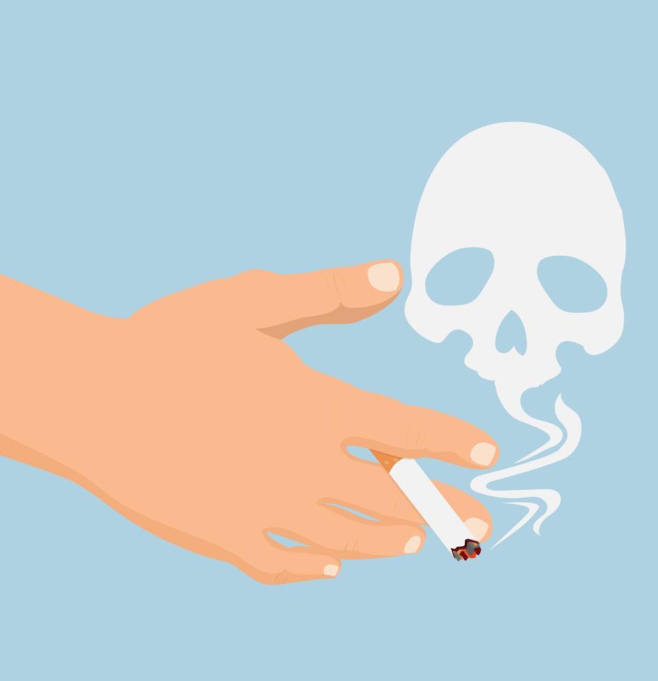 hand med cigarettrökskalle vektor