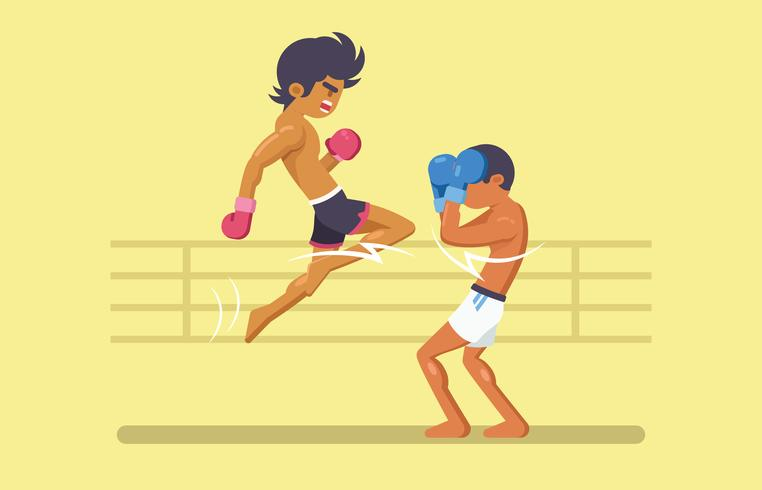 Thai Boxing Fighters kämpar på ringen vektor