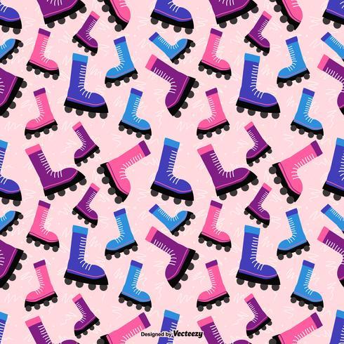 Färgglada Cartoon Rollerblade Vector Seamless Pattern