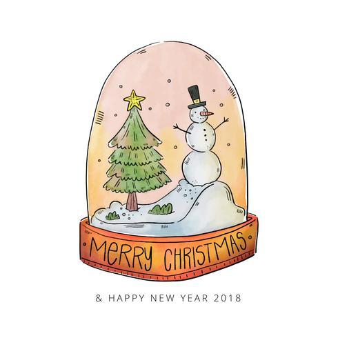 Akvarell Jul Snowball Med Julgran Och Snögubbe vektor