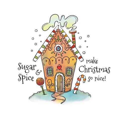 Nettes Lebkuchen-Haus mit Schnee und Süßigkeiten mit Weihnachtszitat vektor