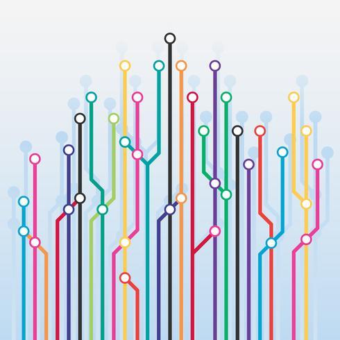 Abstrakt Färg Metro Scheme Bakgrund vektor