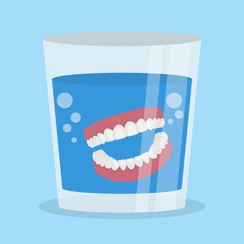 Dentures In Glass Vector