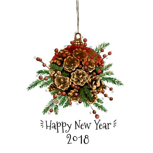 Weihnachten und Neujahr Pine Cone Dekoration Vektor