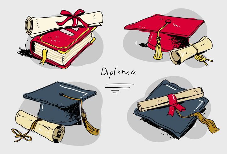 Diplom-Grad-Satz-Hand gezeichnete Vektor-Illustration vektor