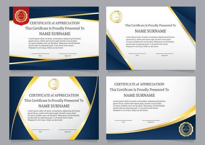 Luxus blaues Diplom-Zertifikat-Set vektor