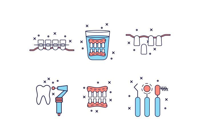 Flache Cartoon-falsche Zähne-Symbol vektor