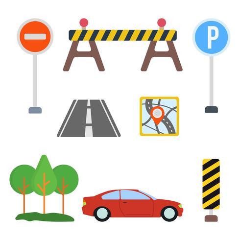 Flache Straßenschild Vektoren