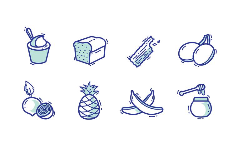 Süßes Essen Icon Pack vektor