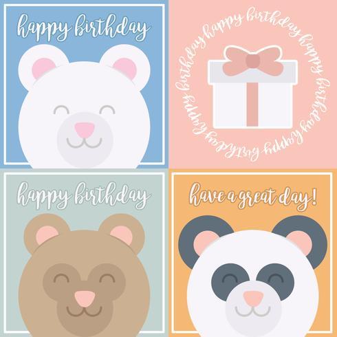 Vektor söta björn födelsedagskort