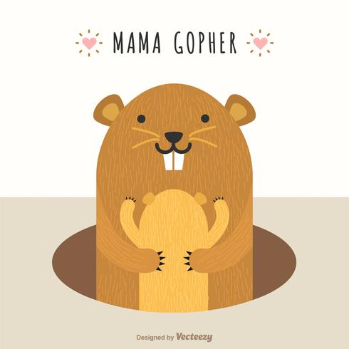 Mama Gopher Hug Cub niedlichen Vektor-Illustration vektor